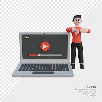 ラップトップ ビデオ プレーヤーを使用するコンテンツ クリエーター