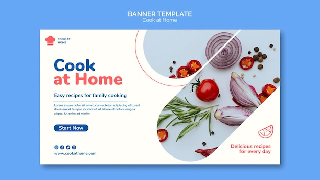 Cucinare a casa modello di banner di concetto