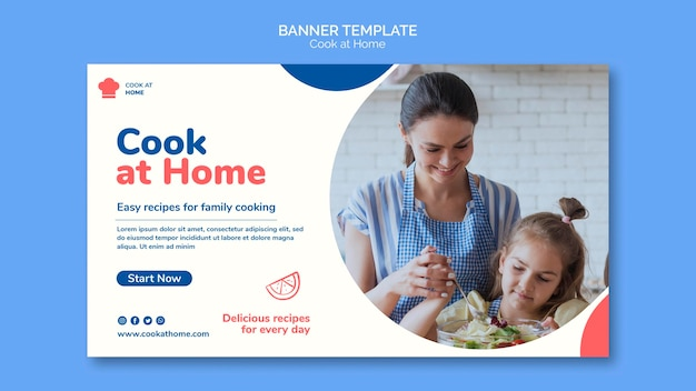 Cook at home concept banner template