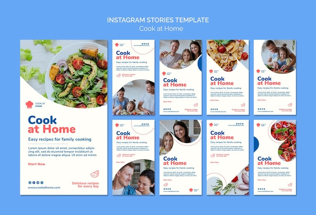 Cook at home concept instagram stories template