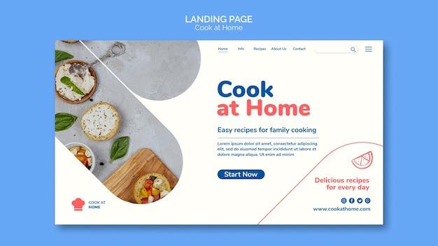 Cucinare a casa modello di pagina di destinazione del concetto