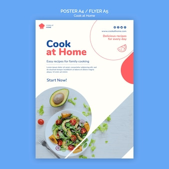 Cook at home concept poster template