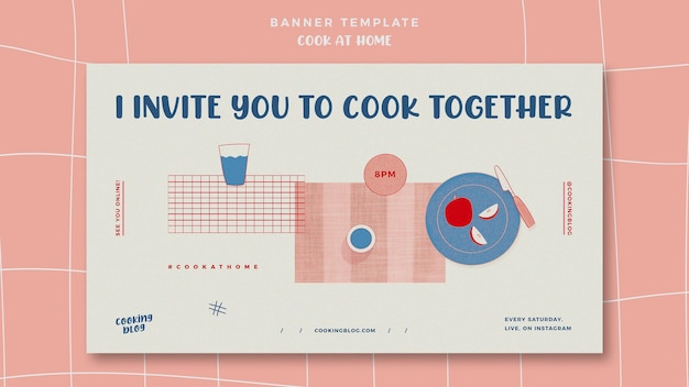 Cook at home horizontal banner template