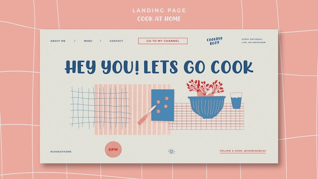 Cook at home landing page with illustration