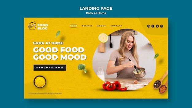 Cook at home landing page