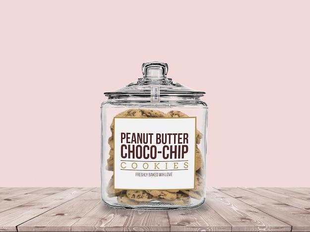 Cookie jar with cookies mockup