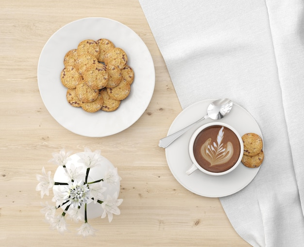 Cookies plate and hot chocolate with flowers vase top view