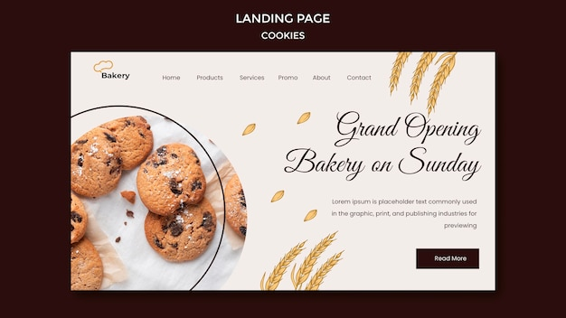 Шаблон целевой страницы магазина cookie