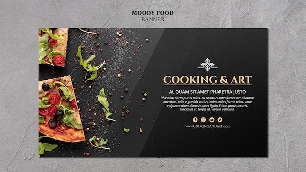料理とアートのバナーのコンセプト