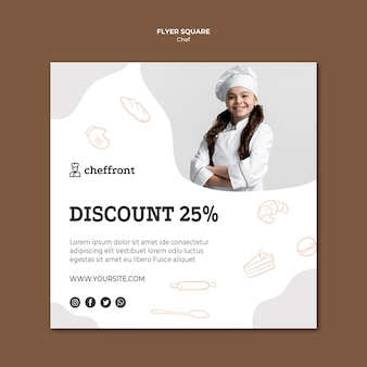 Cooking class square flyer template