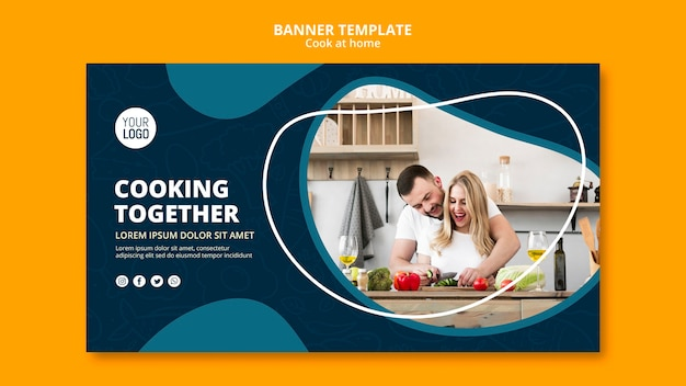 Cooking at home banner concept