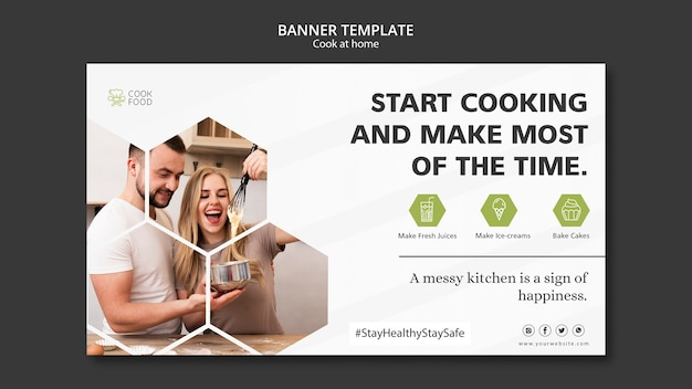 Cooking at home banner template