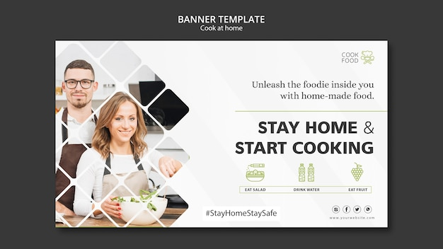 Cooking At Home Banner Template Free Psd File