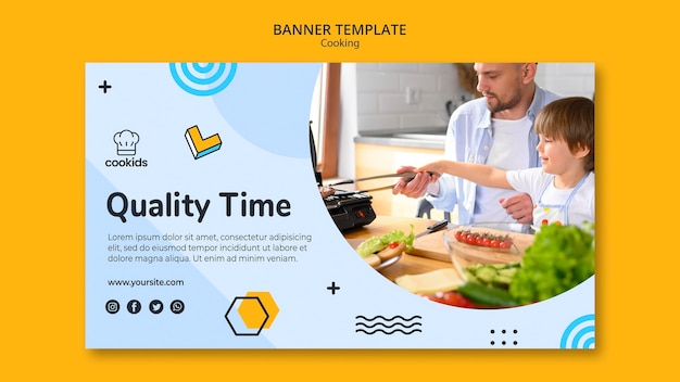 Cooking at home banner theme Free Psd
