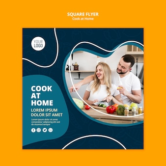 Cooking at home flyer template