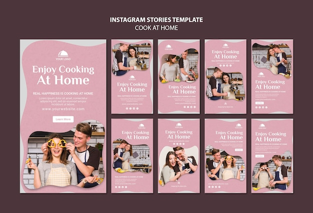 Cooking at home instagram stories template
