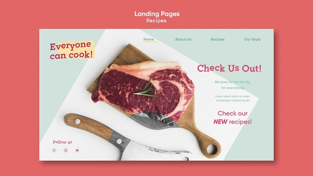Шаблон целевой страницы рецептов кулинарии