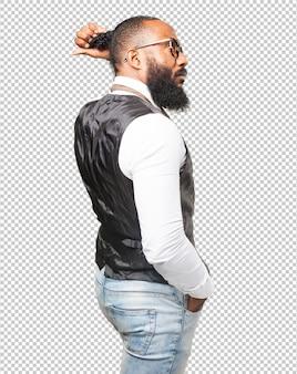 Cool black man touching his pig tail