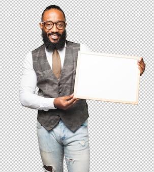 Cool black man with a blackboard