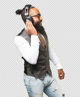 Cool black man with headphones dancing