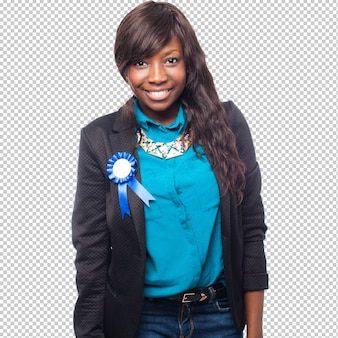 Cool black woman with award