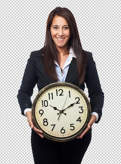 Cool business-woman with clock