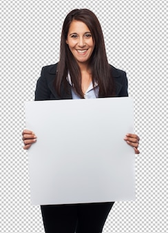 Cool business woman with placard