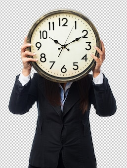 Cool businesswoman with clock