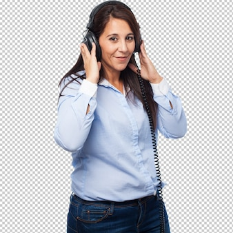 Cool businesswoman with headphones