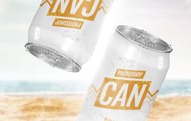 Крутая реклама банки на пляже, макет