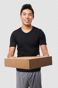 Cool chinese-man with boxes