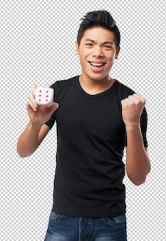 Cool chinese-man with a dice