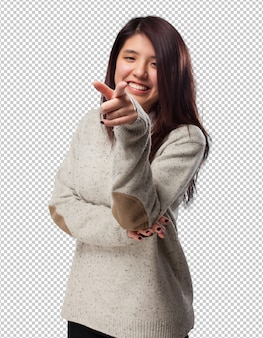 Cool chinese-woman pointing-front