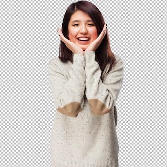 웃 고 멋진 중국 여자