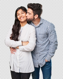 Cool couple smiling on white