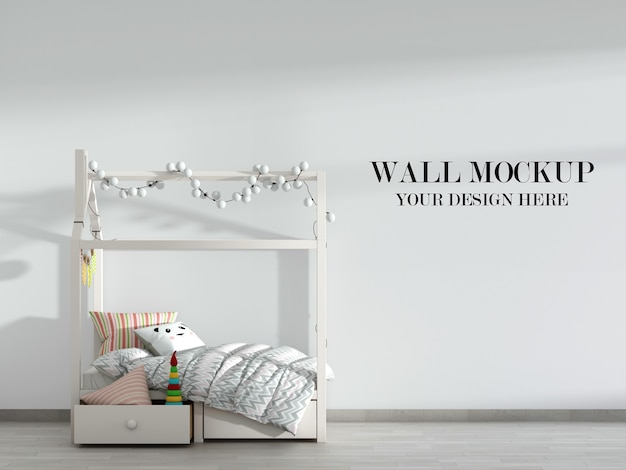 Cool and cozy childroom wall mockup