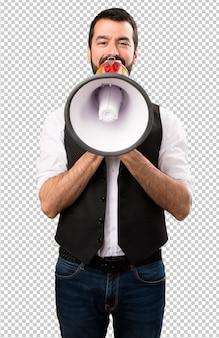 Cool man holding a megaphone