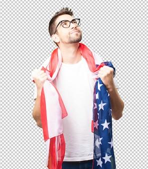 미국을 자랑하는 멋진 남자