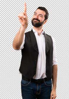 Cool man touching on transparent screen