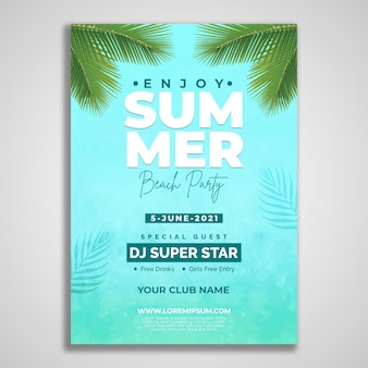 Cool summer beach party flyer design template