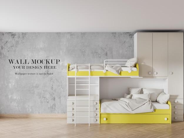 Cool teenager room wall mockup behind bunk bed