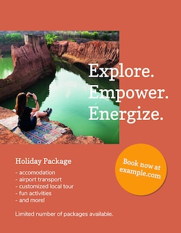 Cool travel flyer template psd with vacation photo