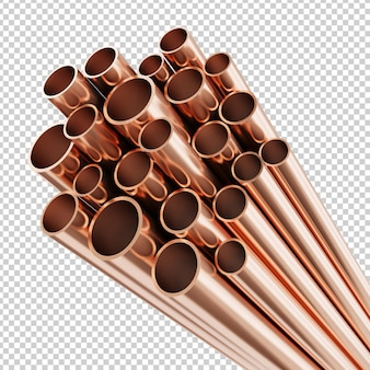 Copper pipes isolated 3d rendering