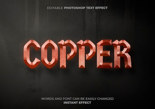 Copper text effect Free Psd