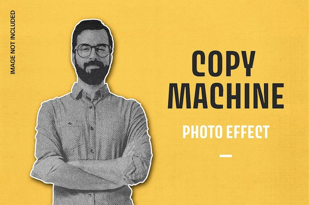 Copy machine print photo effect template