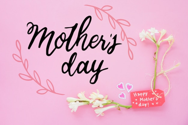 Copyspace  mockup with flat lay mothers day composition