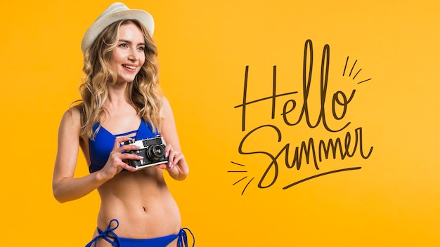 Copyspace mockup with summer concept next to attractive woman