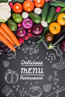 健康的な食品の模造とcopyspace