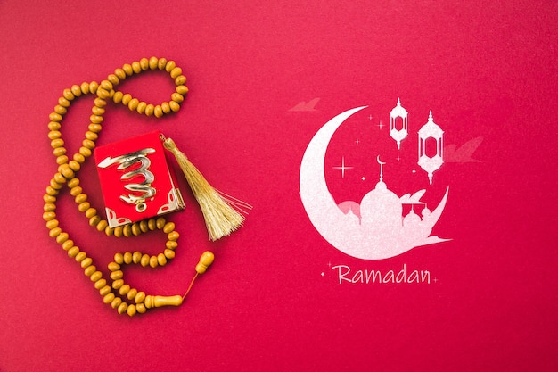 Плоская композиция рамадан с copyspace