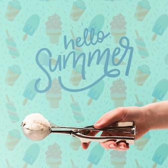 アイスクリームとcopyspaceのモックアップ